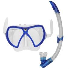 ست ماسک و اشنورکل غواصی سیلیکونی آبی آکوالانگ Aqualung  Pro Set